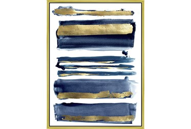 32X42 Abstract Channels With Gold Frame
