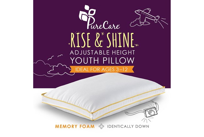 Purecare Kids Rise & Shine Adjustable Height Memory Foam Youth Pillow - 360