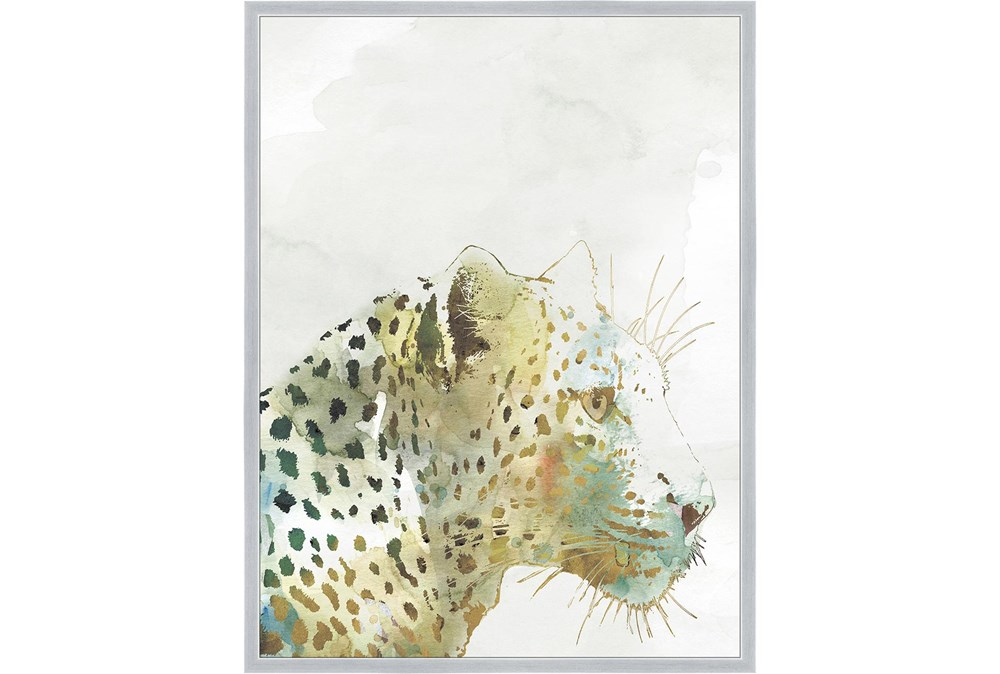 32X42 Jungle Friends Leopard With Silver Frame