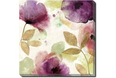 24X24 Floral Watercolor With Gallery Wrap Canvas