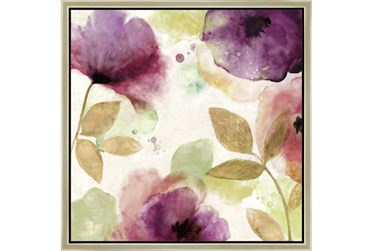 26X26 Floral Watercolor With Champagne Frame
