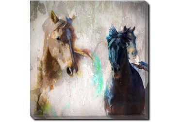 45X45 Horse Rush With Gallery Wrap Canvas