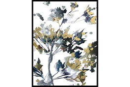 32X42 Golden Flowers With Black Frame