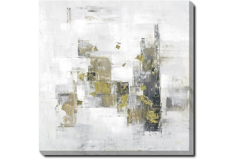 45X45 Abstract Golden Touch With Gallery Wrap Canvas
