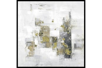 38X38 Abstract Golden Touch With Black Frame