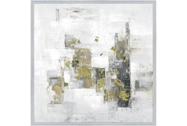 38X38 Abstract Golden Touch With Silver Frame