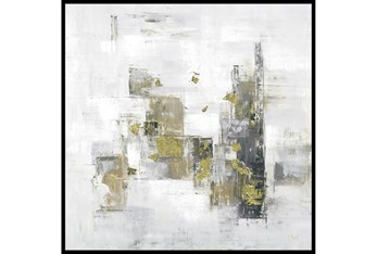47X47 Abstract Golden Touch With Black Frame