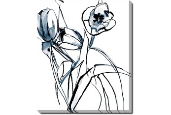 20X24 Floral Fringe 1 Blue With Gallery Wrap Canvas