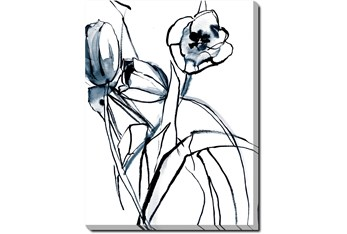 30X40 Floral Fringe 1 Blue With Gallery Wrap Canvas
