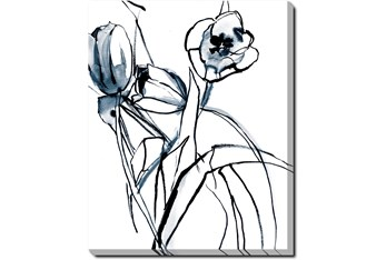 40X50 Floral Fringe 1 Blue With Gallery Wrap Canvas