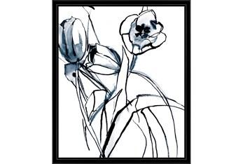 22X26 Floral Fringe 1 Blue With Black Frame
