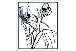 22X26 Floral Fringe 1 Blue With White Frame