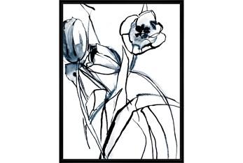 32X42 Floral Fringe 1 Blue With Black Frame
