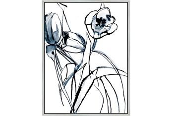 32X42 Floral Fringe 1 Blue With Silver Frame