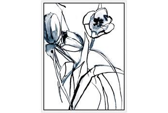 32X42 Floral Fringe 1 Blue With White Frame