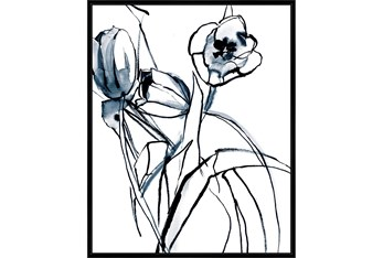 42X52 Floral Fringe 1 Blue With Black Frame