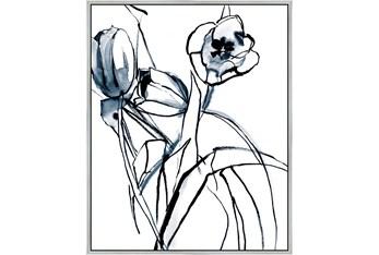 42X52 Floral Fringe 1 Blue With Silver Frame