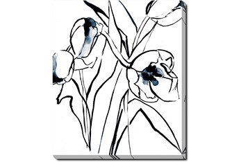 20X24 Floral Fringe 2 Blue With Gallery Wrap Canvas