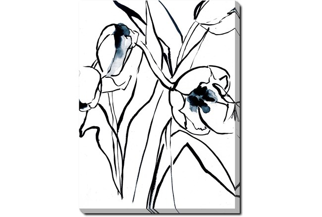 30X40 Floral Fringe 2 Blue With Gallery Wrap Canvas - 360