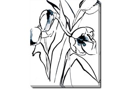 40X50 Floral Fringe 2 Blue With Gallery Wrap Canvas