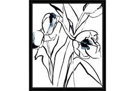 22X26 Floral Fringe 2 Blue With Black Frame