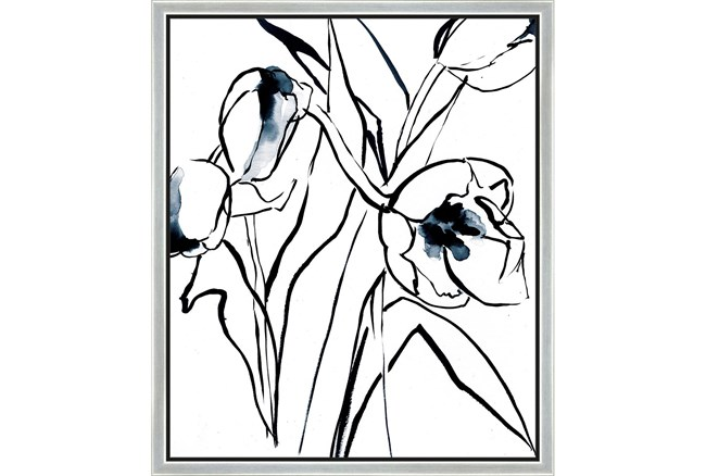 22X26 Floral Fringe 2 Blue With Silver Frame  - 360
