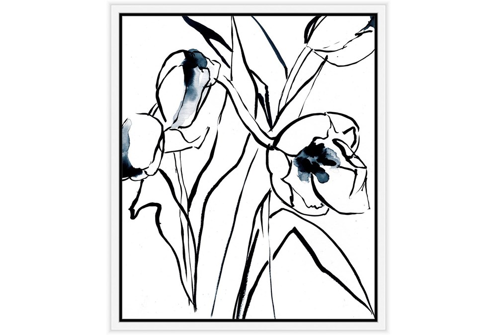 22X26 Floral Fringe 2 Blue With White Frame