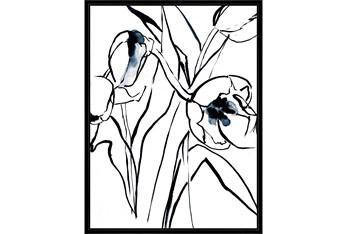 32X42 Floral Fringe 2 Blue With Black Frame