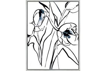 32X42 Floral Fringe 2 Blue With Silver Frame