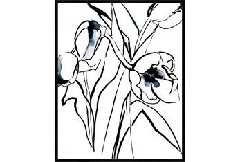 42X52 Floral Fringe 2 Blue With Black Frame