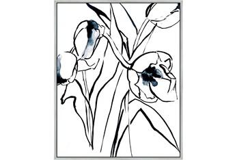 42X52 Floral Fringe 2 Blue With Silver Frame