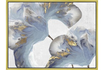 42X32 Flowing Floral I With Gold Frame