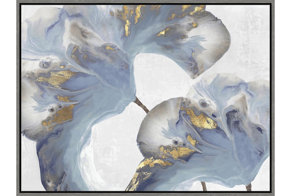 42X32Flowing Floral I With Grey Frame