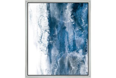 22X26 Abstract Ocean'S Breath With Silver Frame
