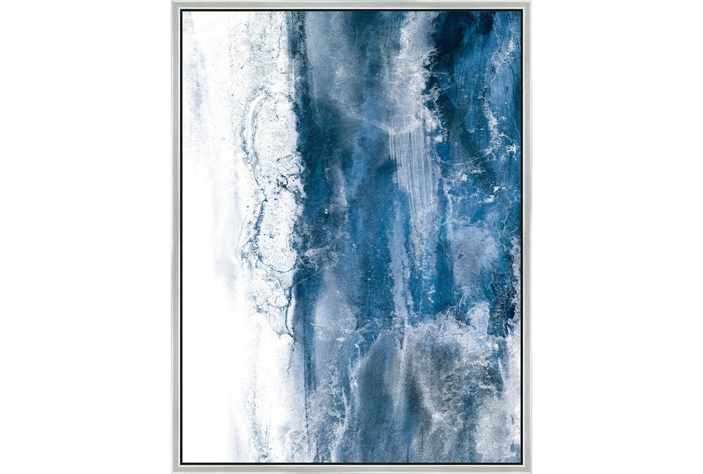 32X42 Abstract Ocean'S Breath With Silver Frame
