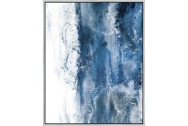 42X52 Abstract Ocean'S Breath With Silver Frame