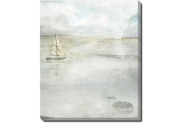 20X24 Solitary Sailing Watercolor With Gallery Wrap Canvas