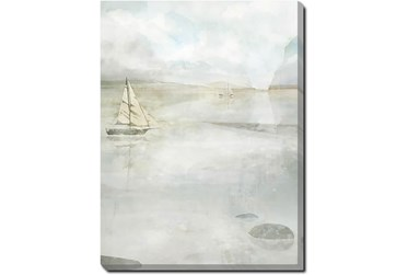 30X40 Solitary Sailing Watercolor With Gallery Wrap Canvas