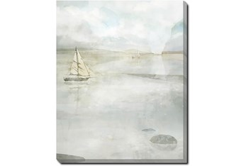 40X50 Solitary Sailing Watercolor With Gallery Wrap Canvas