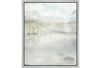 22X26 Solitary Sailing Watercolor With Silver Frame