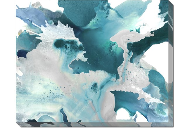 50X40 Turquoise Abstraction With Gallery Wrap Canvas - 360