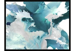 42X32 Turquoise Abstraction With Black Frame