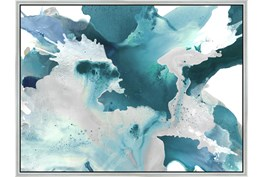 42X32 Turquoise Abstraction With Silver Frame