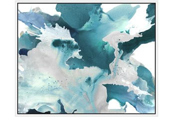 52X42 Turquoise Abstraction With White Frame
