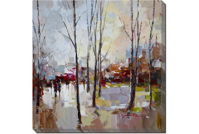 45X45 Rainy Days In The City With Gallery Wrap Canvas - 360