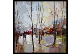 26X26 Rainy Days In The City With Black Frame