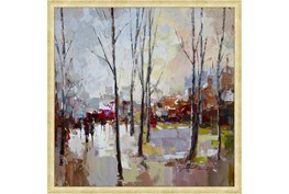 26X26 Rainy Days In The City With Bronze Gold Frame