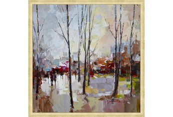 26X26 Rainy Days In The City With Gold Frame