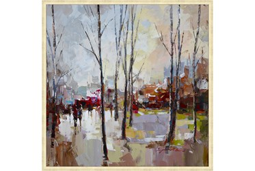 38X38 Rainy Days In The City With Gold Champagne Frame