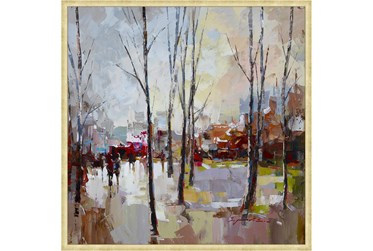 38X38 Rainy Days In The City With Bronze Gold Frame